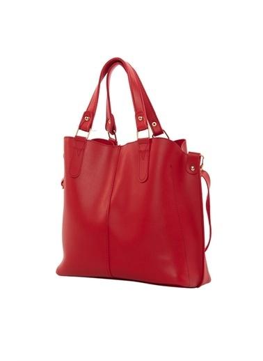 Bagmori Kadın Üç Bölmeli Çıtçıt Detaylı Çanta M000002918 Kırmızı
